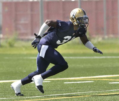 Winnipeg Blue Bombers' Moe Leggett was back at safety during the team's practice at the Bison practice facility Tuesday.