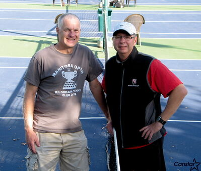 Brent Corrigan (left) and Peter Otto say the Kildonan Tennis Club is poised for another 75 years of success.
