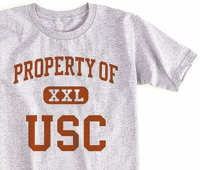 "The online T-shirt maker CustomInk's top 100 iconic T-shirts includes a ""Property of USC"" T-shirt."
