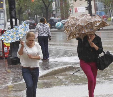 The weather is windy and wet for pedestrians on Portage Avenue Friday.