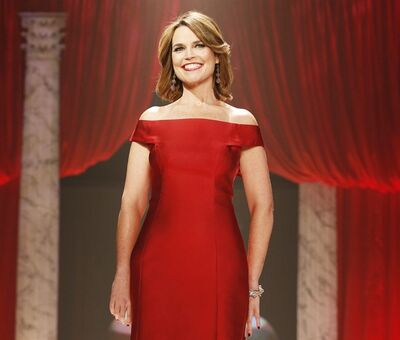 "FILE - In this Feb. 6, 2013 file photo, Savannah Guthrie walks the runway at the Red Dress Collection 2013 Fashion Show in New York. Guthrie has gotten married, and she used the occasion to announce she's expecting her first child. Guthrie and Mike Feldman, a 45-year-old communications strategist, tied the knot Saturday, March 15, 2014, near her hometown of Tucson, Ariz. It was there she told her guests she's four months pregnant. Guthrie's on-air ""Today"" colleagues were among those on hand for the wedding ceremony. (Photo by John Minchillo/Invision/AP, File)"
