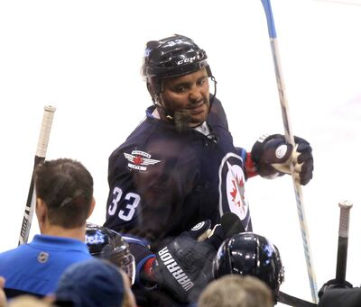 Winnipeg Jets Defenceman Dustin Byfuglien got the day off when his teammates practised in Banff.