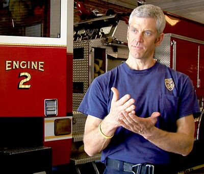 Handout photoRip Esselstyn convinced his fellow firemen in Texas cattle country to give up their meat-heavy diet.