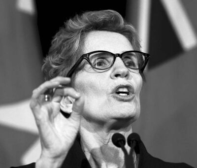 Incoming Ontario premier Kathleen Wynne speaks at her first formal press conference Sunday.