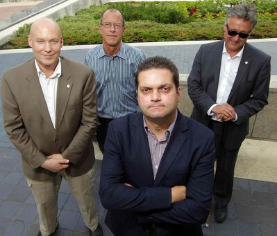 Five councillors are rallying against the city's cycling strategy and took out a radio ad today that will run until council votes on the strategy next Wednesday. Four of those councillors: Jason Schreyer, Shawn Dobson, and Ross Eadie stand behind Jeff Browaty (centre).