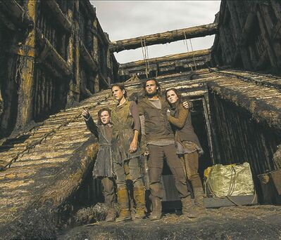 (Left to right) Leo McHugh Carroll is Japheth, Jennifer Connelly is Naameh, Douglas Booth is Shem and Emma Watson is Ila.
