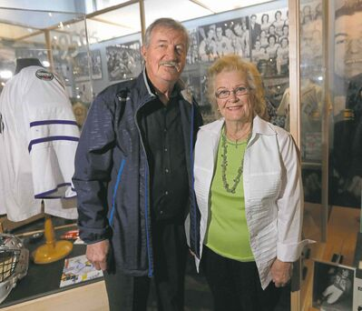 Wayne Glowacki / Winnipeg Free Press Wes Wilson and Elma Kozub, the great-nephew and great-niece of �Cully� Wilson, at Monday�s induction announcement.