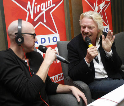 Sir Richard Branson in Winnipeg speaking with Ace Burpee on the 1031 Virgin radio morning show at the Fairmont Hotel this morning.