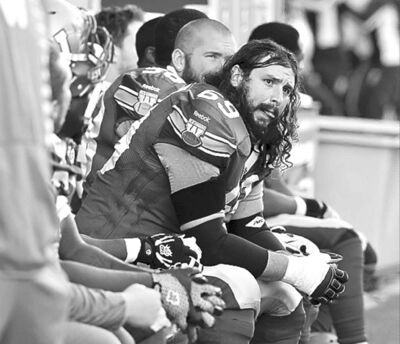 Bombers� Glenn January waits for the sweet relief of the end ot the 2013 season.