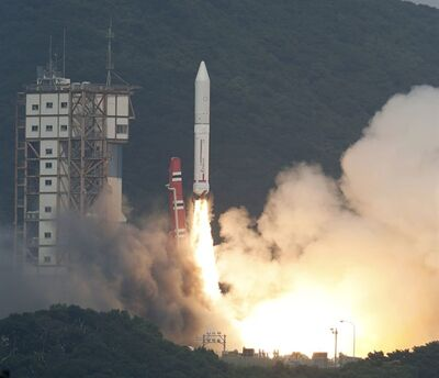 An Epsilon rocket lifts off from the Uchinoura Space Center in Kimotsuki town, Kagoshima, western Japan Saturday, Sept. 14 2013. Japan launched the new rocket it hopes will be a cheaper and more efficient way of sending satellites into space, following a two-week postponement. (AP Photo/Kyodo News) JAPAN OUT, MANDATORY CREDIT