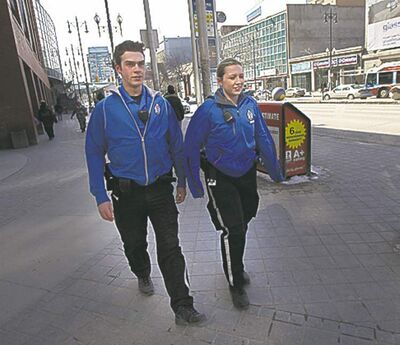 Cadets Daniel Popel and Erin Brolly  walk the downtown beat earlier this week.