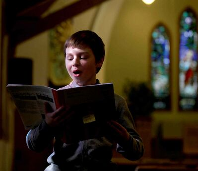 Eleven-year-old Mark Pavliy runs through his performance song, All Things Bright and Beautiful at the 97th Annual Winnipeg Music Festival Saturday.