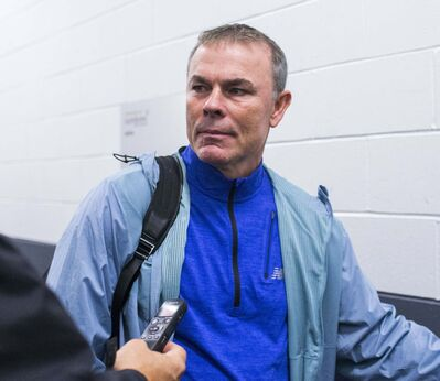 MIKAELA MACKENZIE / WINNIPEG FREE PRESS</p><p>Skills coach Adam Oates speaks to the media after a Jets practice at the Bell MTS Iceplex in Winnipeg on Wednesday.</p>