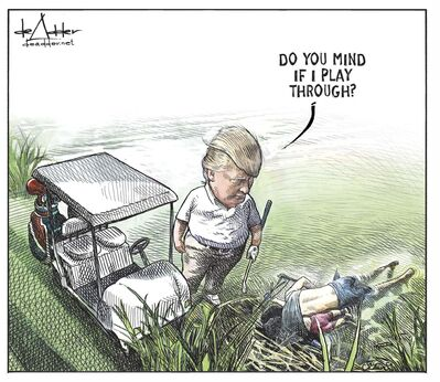 Michael de Adder / The Canadian Press</p><p>Editorial cartoonist Michael de Adder's contract with Brunswick News was terminated shortly after the artist posted this controversial cartoon online. The company says the cartoon is not the reason for the dismissal.</p>