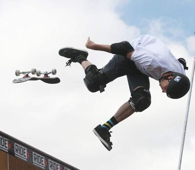 Skateboard legend Tony Hawk was in Winnipeg Monday with his demo team at Polo Park. Hundreds of fans turned out.