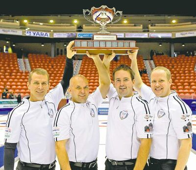 (From left) skip Jeff Stoughton, third Jon Mead, second Reid Carruthers and lead Mark Nichols defeated Glenn Howard 4-3 Sunday to win the Canada Cup of Curling.