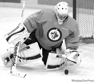 JOE BRYKSA / WINNIPEG FREE PRESSDavid Aebischer, 33, has experience and a glowing resum��, but is still considered a long shot to stick with the Jets.