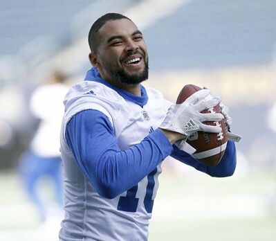 PHIL HOSSACK / WINNIPEG FREE PRESS</p><p>Nic Demski was all smiles at the Bomber Mini-Camp Wednesday afternoon. </p>