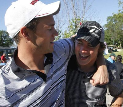 Jonathan Toews (left) and fellow NHLer T.J. Oshie prior to the start of the 5th Annual Canad Inns Steen Classic at Glendale Golf and Country Club Thursday morning.