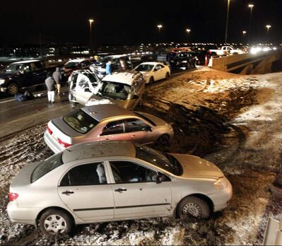 20 vehicles were involved in a crash on the Concordia Overpass on Lagimodiere Boulevard at 6:51 a.m. Friday morning. Three people were sent to hospital.