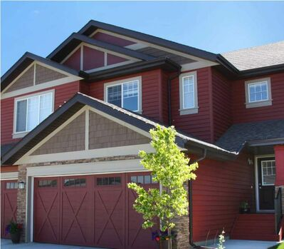 Richmond Brick Red vinyl siding is another local product manufactured by Winnipeg's Kaycan.