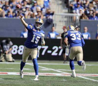 Bombers quarterback Matt Nichols finished Saturday&#39;s game 24-for-37 for 282 yards.</p>