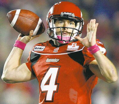 Stamps QB Drew Tate can run his way out of trouble if his receivers are covered.