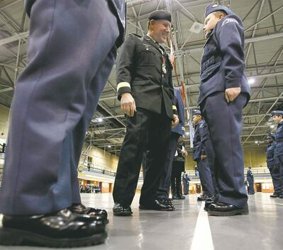 John Woods / Winnipeg Free Press Gen. Walter Natynczyk inspects the 220 Red River Royal Canadian Air Cadet Squadron.