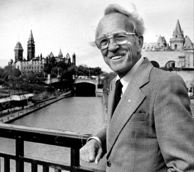 The late NDP leader Tommy Douglas, above in October 1983, understood the need for social democracy and healthy citizens, James Hoddinott blogs.