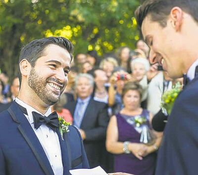 Kirk Chase (left) and Adam Pimentel tied the knot at The Forks this past summer.