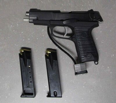 A loaded 9 mm handgun seized by Canadian border officials.