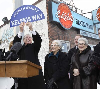 Mayor Sam Katz and City Councillors were outside Kelekis Restaurant Wednesday, its final day of operation, along with Mary Kelekis (centre) and her sister Becky Walker, to announce the  honorary street designation. A section of Main Street between Aberdeen Avenue and Redwood Avenue will be marked 'Kelekis Way.'