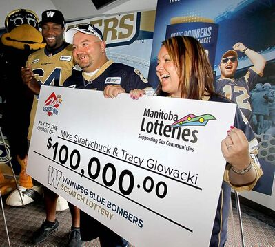 Mike Stratychuk and Tracy Glowacki will be sharing a cool $100K after hitting big on a Bombers Scratch 'n' Win lottery ticket. There is still another $100,000 prize and more than 200,000 other cash prizes remaining.