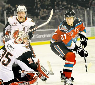 Kelowna�s Ryan Olsen (27) has already eclipsed last season�s goal production.