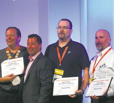Doug Gauthier (right) of Oxygen Technical Services Ltd., was awarded the regional Top Technical User award at the N-able Global Summit in Arizona on Oct. 23.