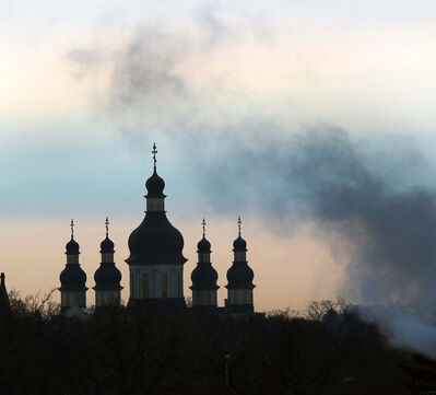 The Holy Trinity Ukrainian Orthodox Cathedral on Main Street is enveloped in light fog and heating exhaust.