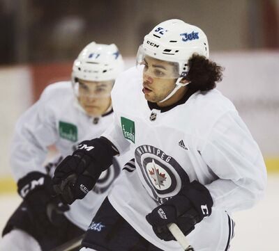 PHIL HOSSACK / WINNIPEG FREE PRESS</p><p>Winnipeg Jets prospects Quinn Prestonworks, foreground, and Austin Wong are put through their paces Tuesday morning.</p>