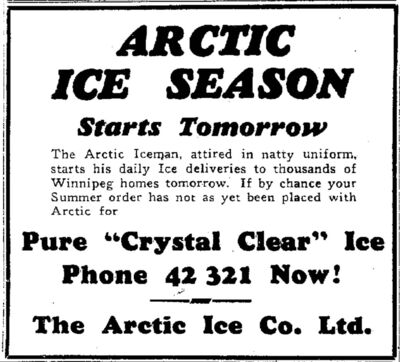 &#34;The Arctic Iceman, attired in natty uniform, starts his daily ice deliveries to Winnipeg homes tomorrow,&#34; announces this ad from the March 29, 1938 paper. &#34;If by chance you summer order has not yet been placed,&#34; best to phone now. </p>