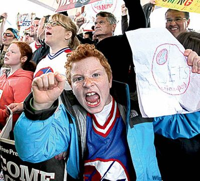 Jets fans scream approval at The Forks.