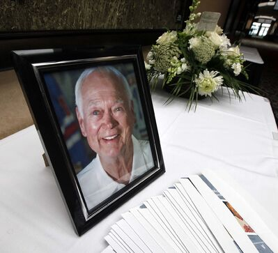 PHIL HOSSACK / WINNIPEG FREE PRESS</p><p>Alvin 'Ab' McDonald's portrait outside the memorial service of the WInnipeg Jets first Captain Tuesday afternoon at Canad Inns Polo Park.</p>