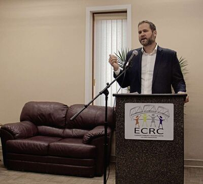 Feb. 7, 2017 - MLA Matt Wiebe at spoke at the Elmwood Community Resource Centre's open house for their new 545 Watt St. location, praising the ECRC's positive effect on the community. (SHELDON BIRNIE/CANSTAR/THE HERALD)