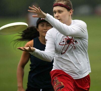 """Members of the Women's Senior Ultimate team """"Fusion"""" work out in a drizzle Thursday at Assiniboine Park. (Phil Hossack / Winnipeg Free Press)"""