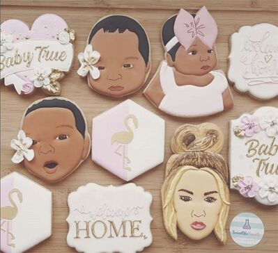 Reality TV personality Khloe Kardashian posted this picture on Instagram after Scientific Sweets created cookies in the image of her newborn daughter, True. (Scientific Sweets / Canadian Press files)