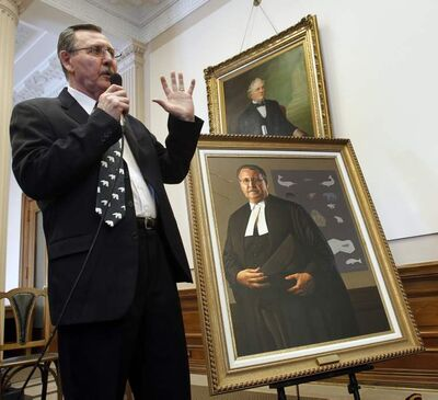 George Hickes at the unveiling of his official portrait Tuesday in the legislative building.