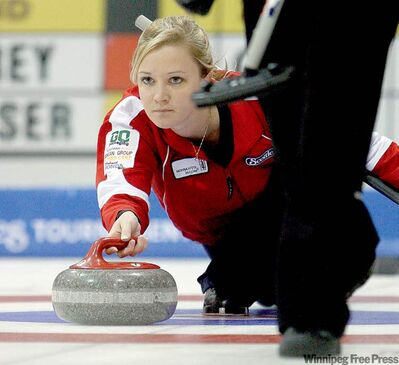 Skip Chelsea Carey takes aim during a 7-4 victory over Karen Rosser at the Scotties Tournament of Hearts Thursday.