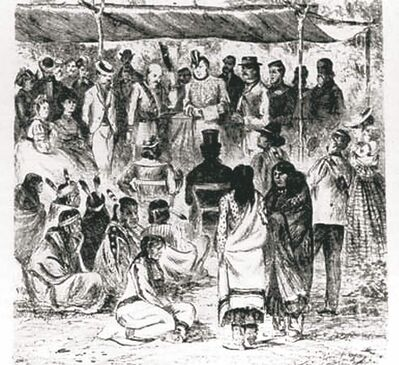The signing of Treaty 1 at Lower Fort Garry in 1871.