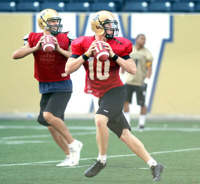 Veteran QB Marc Paquette (left) and much-heralded newcomer Jordan Yantz are 'ripping up camp,' according to Manitoba head coach Brian Dobie.