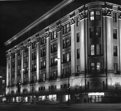 Hudson's Bay Company downtown store is bathed in light on March 13, 1973.