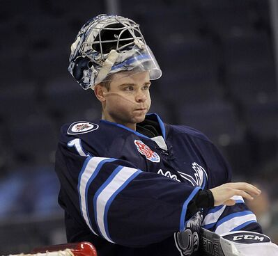 PHIL HOSSACK / WINNIPEG FREE PRESS</p><p>Netminder Eric Comrie has had an exceptional start to the AHL season with the Manitoba Moose, posting an 8-4-1 record with a shutout, a 2.30 goals-against average and a .927 save percentage. </p>