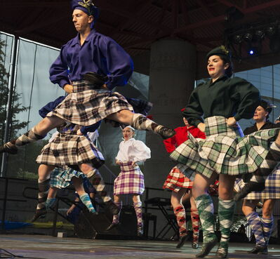 Scotland Pavilion's Ena Sutton Highland Dancers perform on the Festival Park Stage at The Forks for Folklorama Kick-Off.